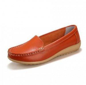 Мокасины оранжевые кожаные