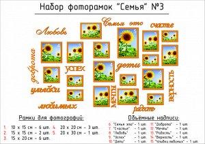 """Набор для панно """"Семья""""№3 (рамки+надписи)"""