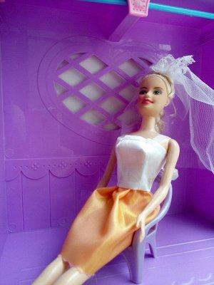 Платье бело-оранжевое