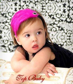 Повязка для волос с перьями розовая