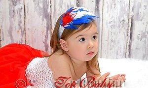 Повязка для волос с перьями сине-белая