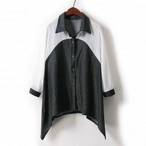 Рубашка модная: черная джинса+белый шифон