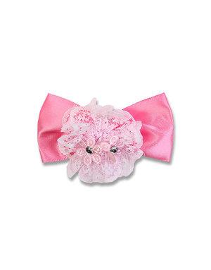 Зажим для волос с бантиком и кружевным цветком розовый