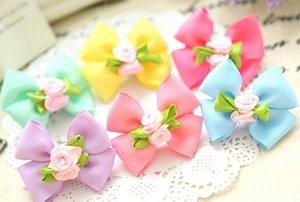 Зажим для волос с двойным бантиком и цветочками