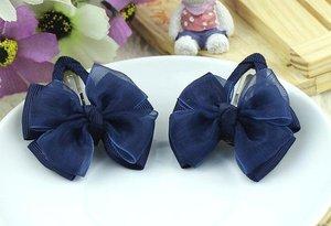 Зажим для волос клик-клак с верхним капроновым бантиком темно-синий