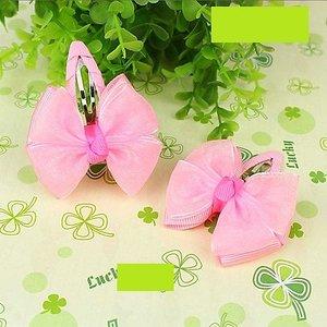 Зажим для волос клик-клак с верхним капроновым бантиком розовый