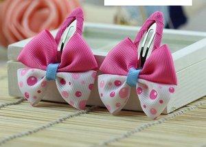 Зажим для волос клик-клак с двойным бело-розовым бантиком с кружочками