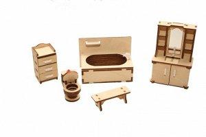 Мебель (длина/ширина/высота, см).  скамейка: 2*6*2. ванная: 9,5*5,5*6. унитаз: 4,5*2,5*3,5. шкаф с умывальником: 3*6*10,5. шкафчик: 3*3*6