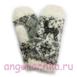 Женские пуховые варежки с оленем - 304.12