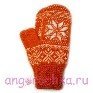 Оранжевые шерстяные варежки с белой снежинкой - 305.130