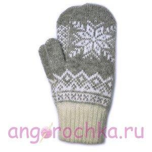 Светло-серые шерстяные варежки с белой снежинкой - 305.128