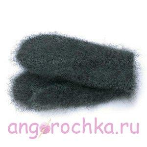 Серые женские шерстяные варежки с пухом - 304.8
