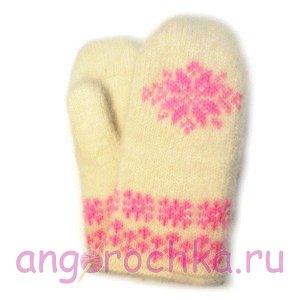 Белые вязаные шерстяные варежки с розовой снежинкой - 341.73