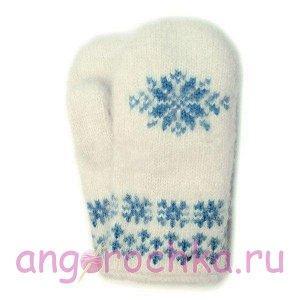 Белые вязаные шерстяные варежки со снежинкой - 341.72