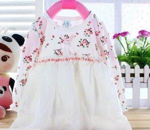 Платье с верхом в цветочек и белым низом