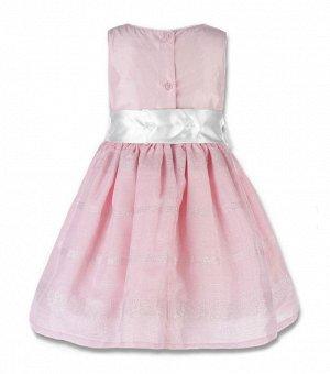 Платье нарядное с бантиком впереди розовое