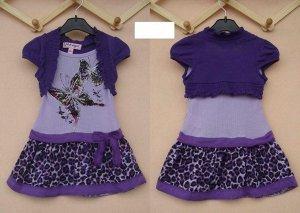 Платье с пришитым болеро бело-фиолетовое