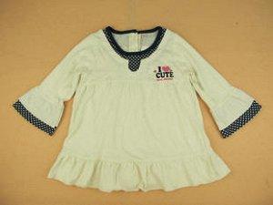 Платье-туника молочное с отделкой в горох