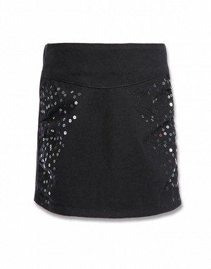 Черная прямая юбка с пайетками