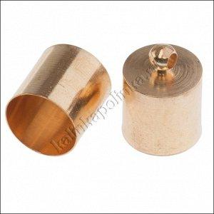 Концевики для шнуров 12х15мм, латунь, цвет русское золото, диаметр отверстия 11.5мм.