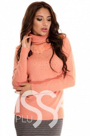 Чудесный свитерок, размер 46-48, Персиковый цвет.