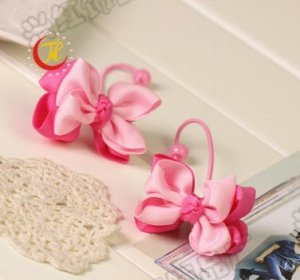 Резинка для волос с двойным бантиком розовая