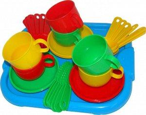 """Набор детской посуды """"Минутка"""" с подносом на 6 персон"""