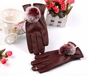 Перчатки бордовые как на фото