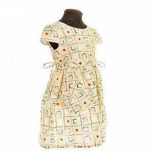 Платье Кубики. Платье из плотного хлопка. На спинке застежка на пуговицах. Кулиска с бантиками на талии. В скобках рядом с размером указан остаток.