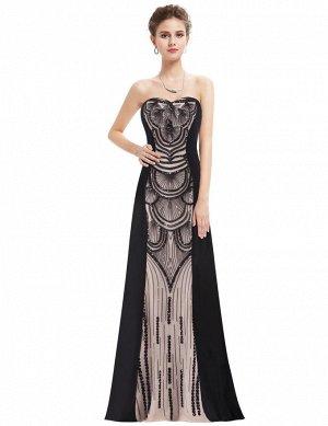 Вечернее платье, чёрного цвета с бежевой вставкой, со шнуровкой сзади.