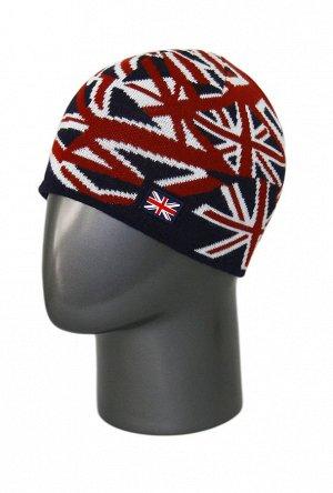 синий Состав:Sliven: 80% wool 20% p/acril Описание:  Мужская зимняя шапка по голове. Оригинальный дизайн в виде Британского флага, дополнена ярким флажком-эмблемой. Связана из качественной шерстяной