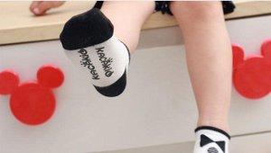 Носочки со стопперами бело-черные