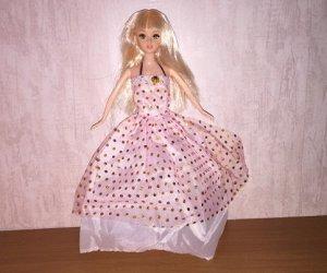 Платье розовое в горох