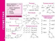 Геометрия Год издания: 2019; Формат: А6 Эта серия учебных материалов представляет собой двухсторонние ламинированные карточки формата А4, А5 и А6, на которых в виде понятных таблиц приводятся компактн