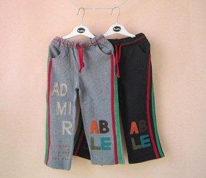 Трикотажные брюки с лампасами серые