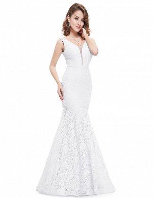 Шикарное кружевное платье белого цвета фасон Русалочка