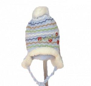 шапка зимняя на девочку 6-18 мес