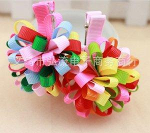 Зажим для волос с большим цветочком из разноцветных лент