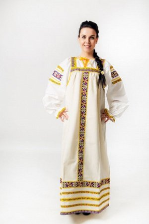 Сарафан «Маруся» лен серый