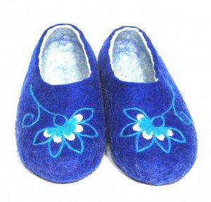 Гжельский цветок на синем+ кожаная подошва
