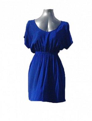Платье с кружевом. ХБ синее