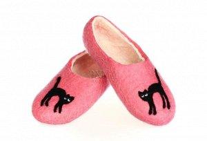Чёрная кошка на розовом + кожаная подошва