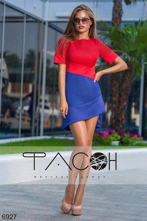 Стильное платье ассиметричной длины из неопрена, дешевле СП