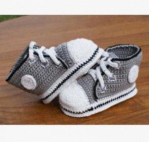 Пинетки-ботиночки вязаные на шнуровке серые