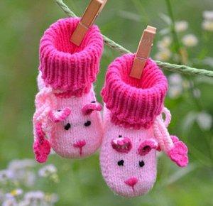 Пинетки-носочки вязаные розовые двухцветные