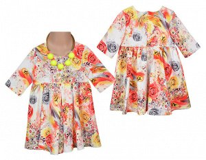 Платье 560679 мультиколор 3-11 98-122/5 рыжий