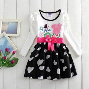 """Платье """"Свинка Пеппа"""" с черной юбкой"""