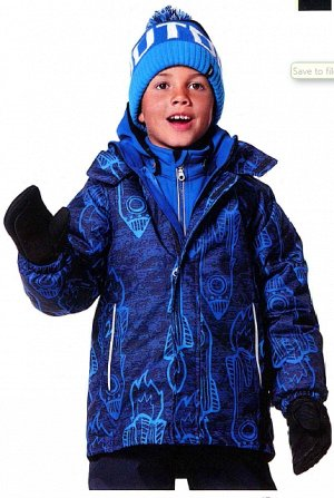 Куртка зимняя Лэсси, рр 110, принт красные и серые ракеты