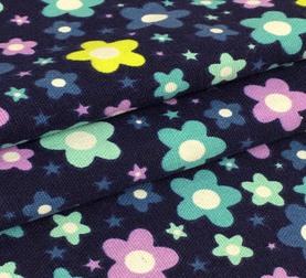 Холщевая ткань. Цветочки. Темно-синий, отрез 100 см х 50 см.