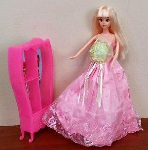 Платье розовое с желто-зеленым цветком на груди